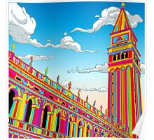 Saint Mark Bell Tower in Rainbow Poster