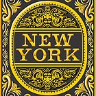 Vintage New York Label Plaque, Black and Gold by aurielaki
