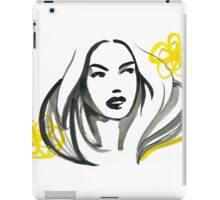 Ink Girl with Yellow Flowers iPad Case/Skin