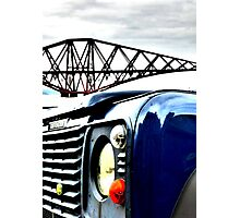 SUV in front of Forth Rail Bridge Photographic Print