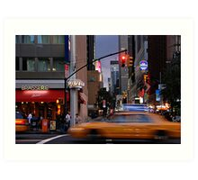 New York Taxi Cabs at Dusk Art Print