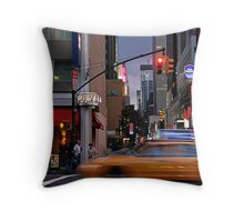 New York Taxi Cabs at Dusk Throw Pillow
