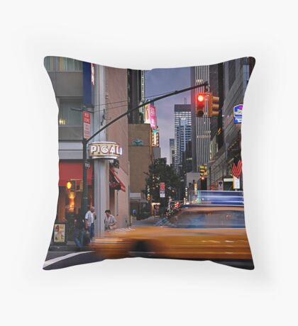 New York Taxi Cabs at Dusk Throw Pillow