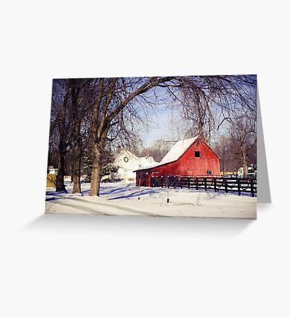 PRETTY RED BARN IN WINTER Greeting Card