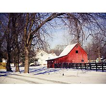 PRETTY RED BARN IN WINTER Photographic Print