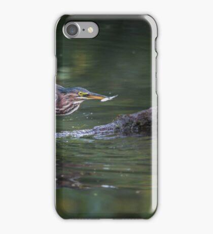 green heron with prey iPhone Case/Skin