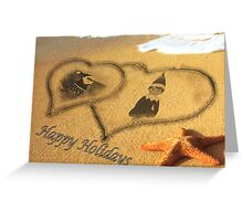 Elf In the Sand With Santa Greeting Card