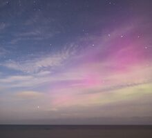Beautiful northern lights and Big Dipper over midnight sea. by Marko Palm