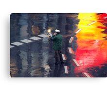 Policeman in the rain  Canvas Print