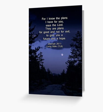 Bible Verse: Jeremiah 29:11 Words of Hope for the Future Greeting Card
