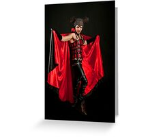 Male Devil costume on black background  Greeting Card