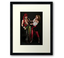 Pirate couple on black background  Framed Print