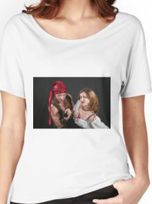 Pirate couple on black background  Women's Relaxed Fit T-Shirt