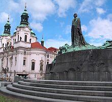 Church in Staromestske square by Efi Keren