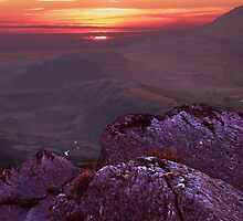 Welsh mountains in evening light by Mark Chadwick
