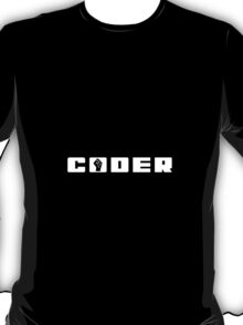 Coder in White T-Shirt T-Shirt