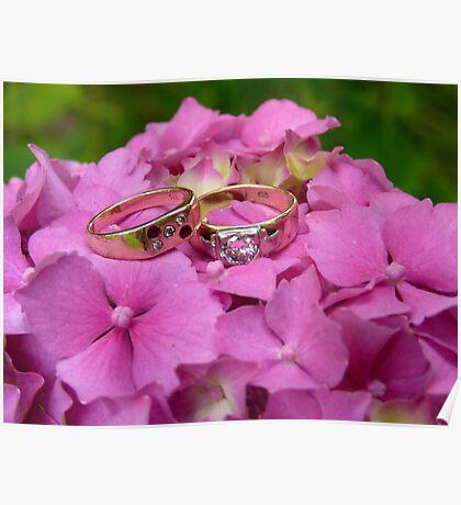Wedding Rings - Pink Hydrangea - NZ Poster