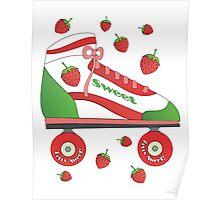 Strawberry Rollerskate Poster