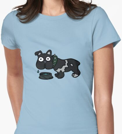 Dog Drinking Water Womens Fitted T-Shirt