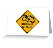 Free of snakes surfing area. Surf caution sign. Dropping in free spot. Greeting Card