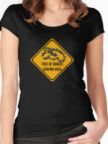 Free of snakes surfing area. Surf caution sign. Dropping in free spot. Women's Fitted Scoop T-Shirt