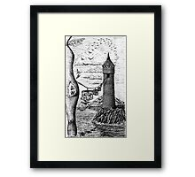 Circle of life black and white surreal drawing art Framed Print