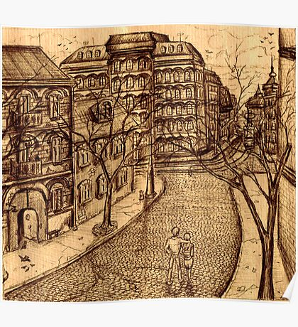 Old Odessa city black and white pen ink drawing Poster