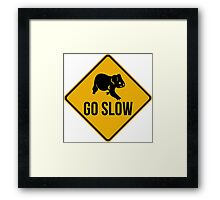 Go slow, koala sign, for easy people.  Framed Print