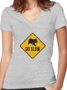 Go slow, koala sign, for easy people.  Women's Fitted V-Neck T-Shirt