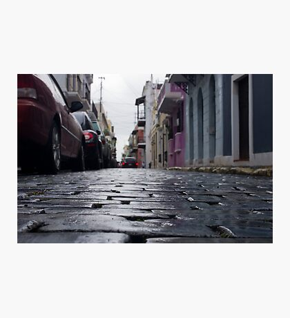 Blue Cobblestone of San Juan Photographic Print