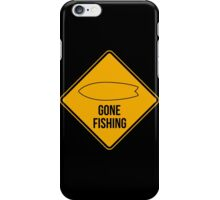 Gone fishing. Fish surfboard caution sign for surfers. iPhone Case/Skin