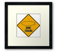 Gone fishing. Fish surfboard caution sign for surfers. Framed Print