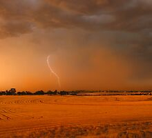 Storm over Stubble by Peter Hodgson
