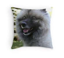 Keeshound Portrait Throw Pillow
