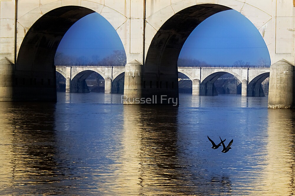 Bridge and Ducks by Russell Fry