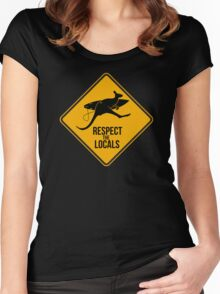 Respect the real locals. Kangaroo version. Australia surf. Women's Fitted Scoop T-Shirt
