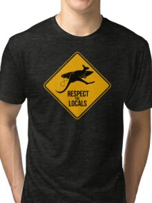 Respect the real locals. Kangaroo version. Australia surf. Tri-blend T-Shirt