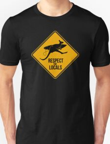 Respect the real locals. Kangaroo version. Australia surf. Unisex T-Shirt