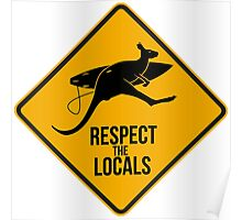 Respect the real locals. Kangaroo version. Australia surf. Poster