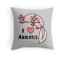 I HEART AXOLOTLS Throw Pillow
