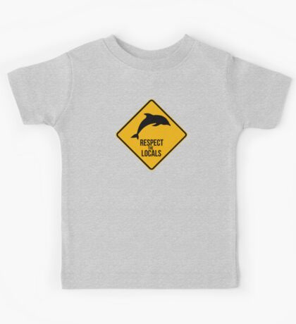 Respect the dolphins - Caution sign Kids Tee