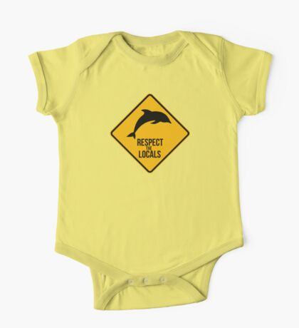 Respect the dolphins - Caution sign One Piece - Short Sleeve