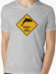Respect the dolphins - Caution sign Mens V-Neck T-Shirt