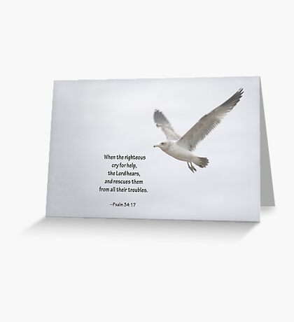 Seagull and Psalm 34:17 Greeting Card