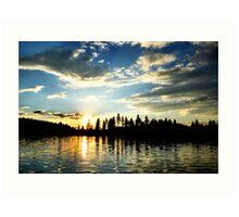 Sunset on White Mud Lake Art Print