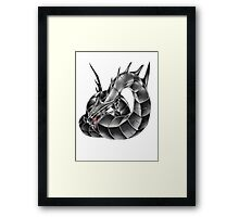 Dark Cyber Dragon Framed Print