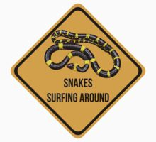 Snakes surfing around. Dropping in caution sign for surfers. by 2monthsoff