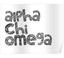 Alpha Chi Omega Bubble Letters Poster