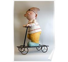 Gnome riding a scooter Poster