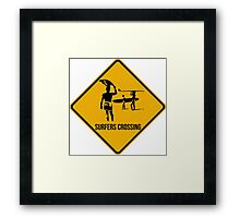 Surfers crossing. The endless summer caution sign. Framed Print